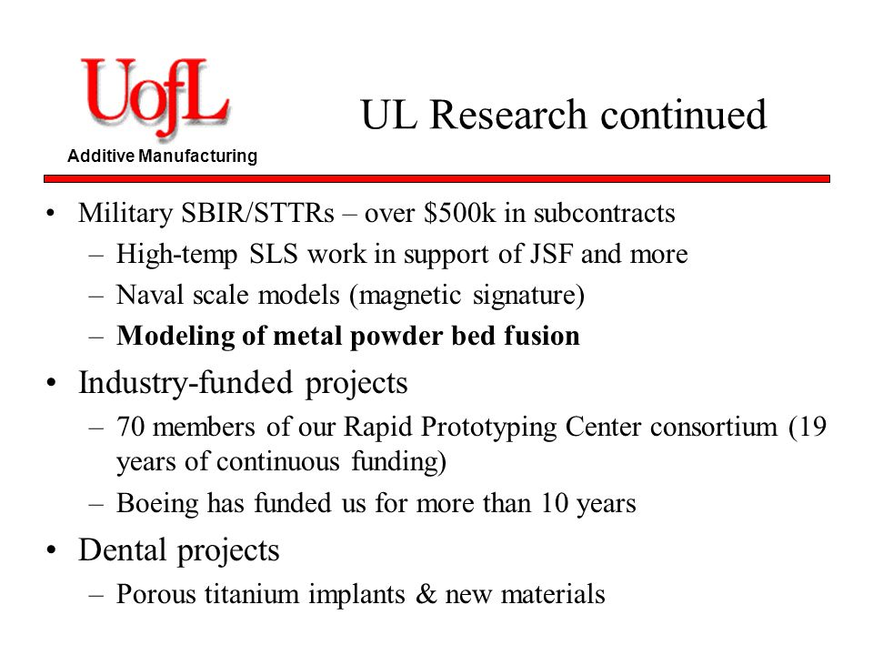 UL Research continued Industry-funded projects Dental projects