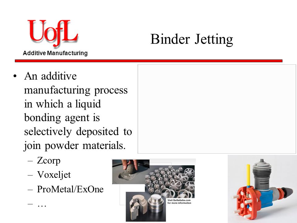 Binder Jetting An additive manufacturing process in which a liquid bonding agent is selectively deposited to join powder materials.