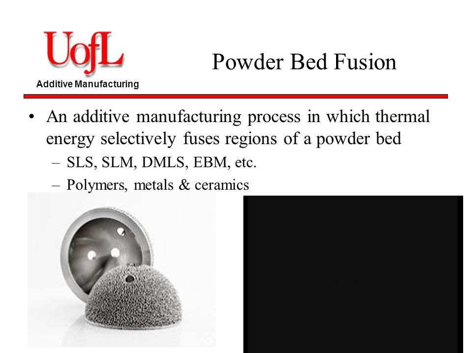 Powder Bed Fusion An additive manufacturing process in which thermal energy selectively fuses regions of a powder bed.