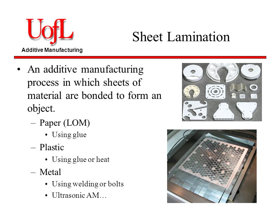 Sheet Lamination An additive manufacturing process in which sheets of material are bonded to form an object.