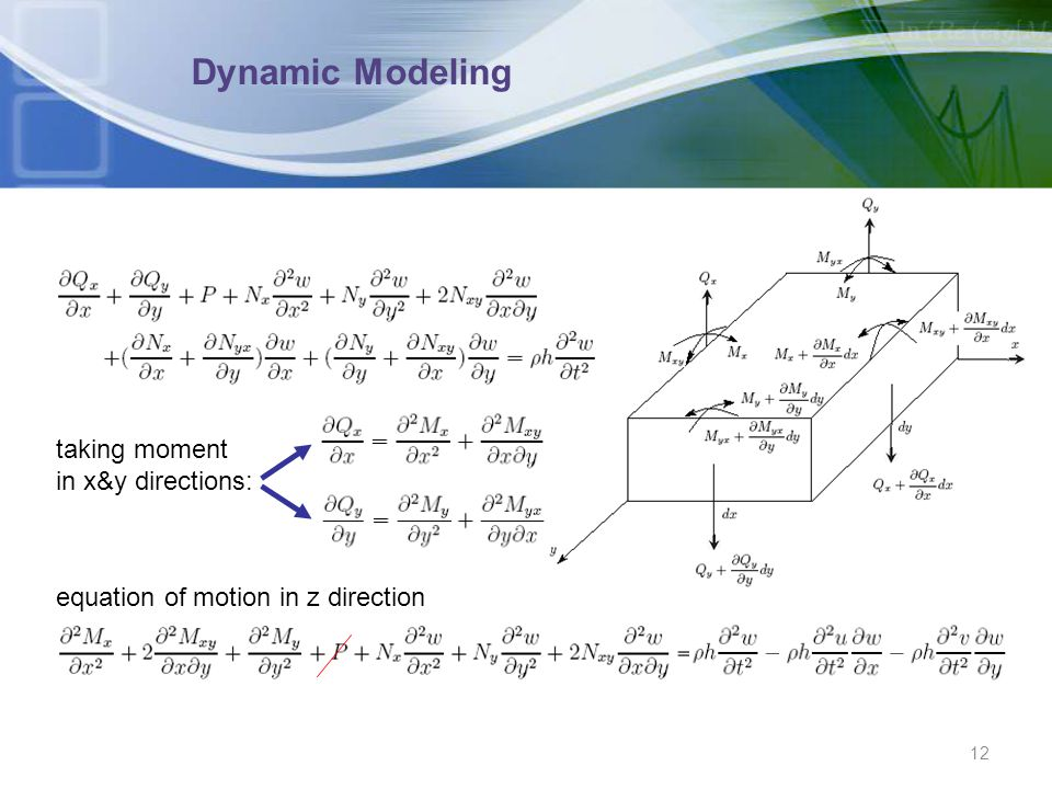 Dynamic Modeling taking moment in x&y directions: