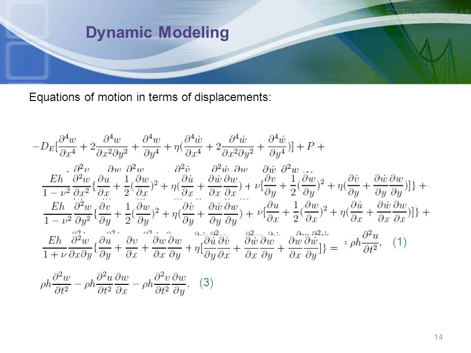Dynamic Modeling Equations of motion in terms of displacements: (1)