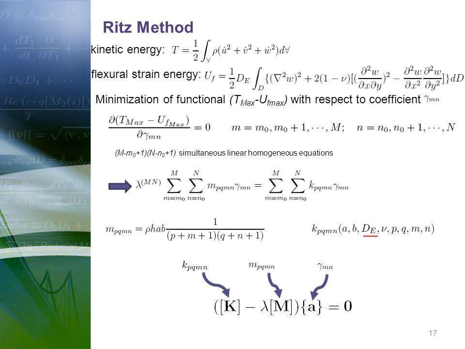 Ritz Method kinetic energy: flexural strain energy: