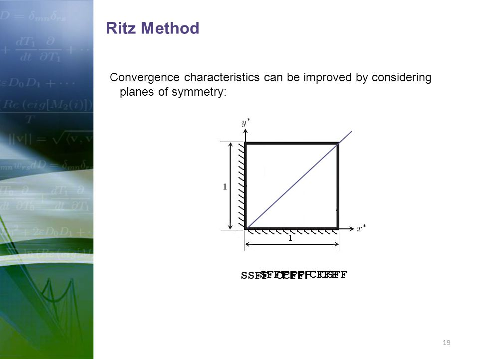 Ritz Method Convergence characteristics can be improved by considering