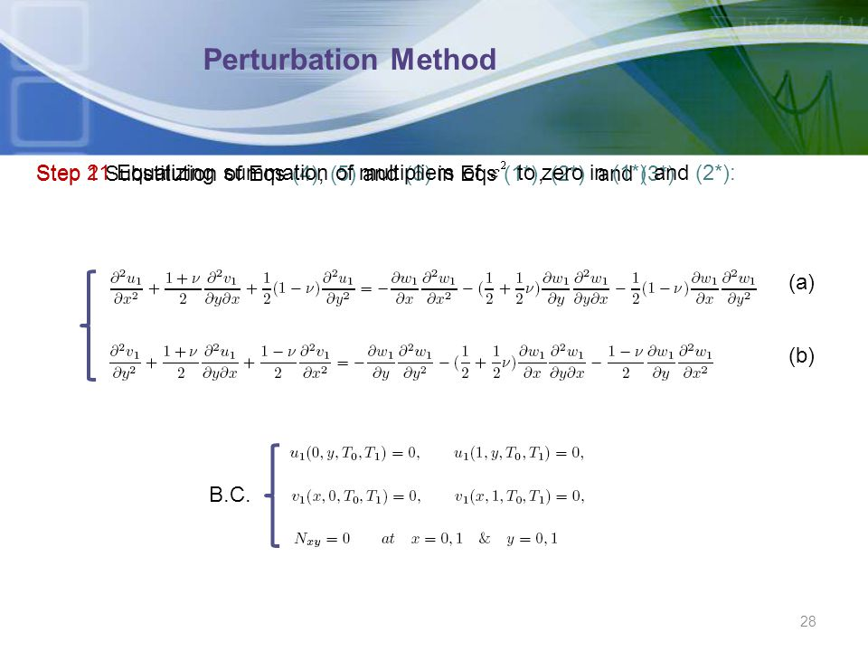 Perturbation Method Step 1 Substitution of Eqs (4), (5) and (6) in Eqs (1*), (2*) and (3*)