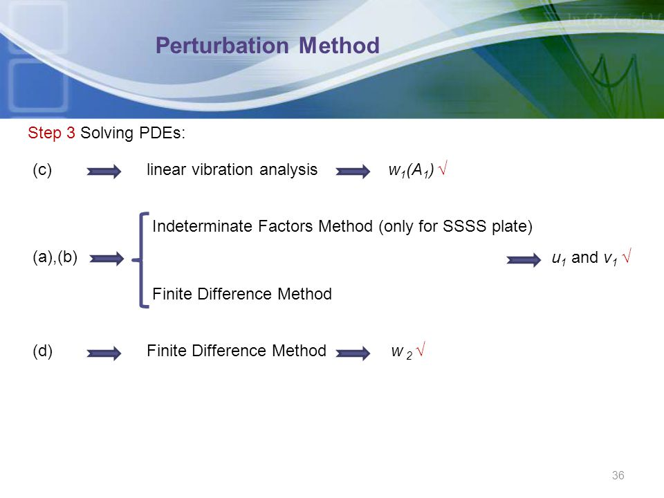 Perturbation Method Step 3 Solving PDEs: (c) linear vibration analysis