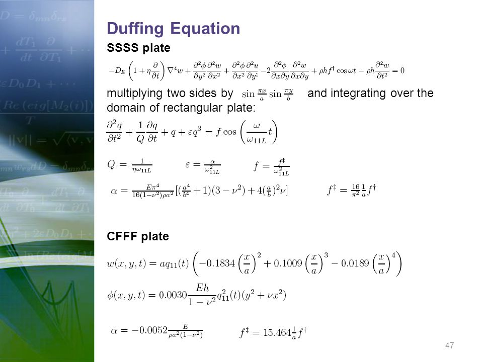 Duffing Equation SSSS plate