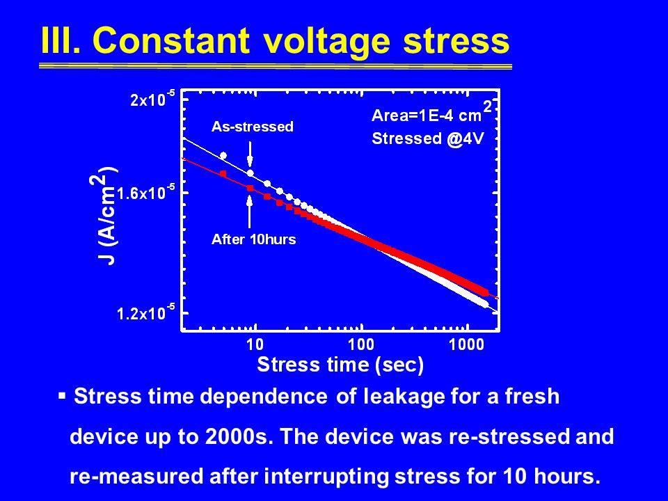 III. Constant voltage stress