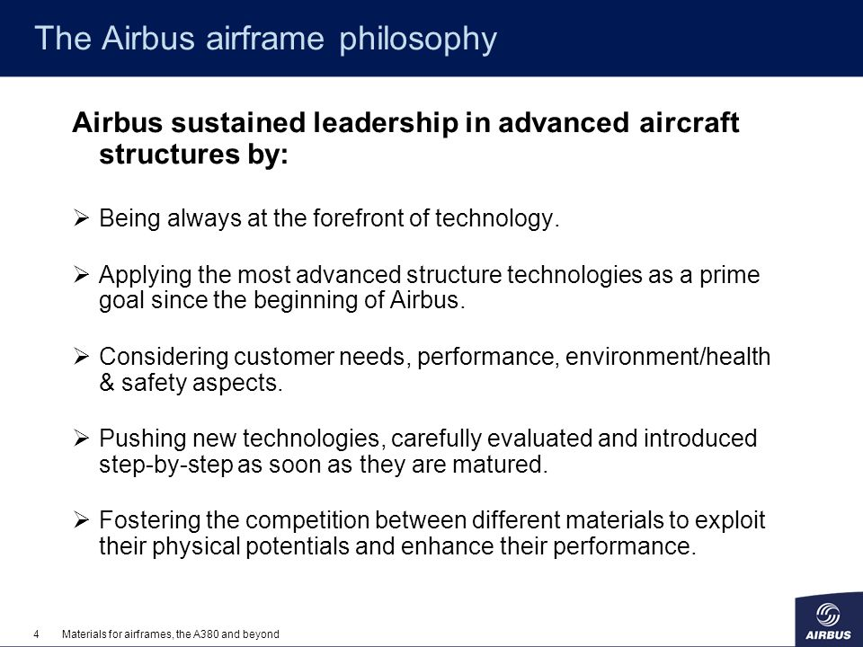The Airbus airframe philosophy
