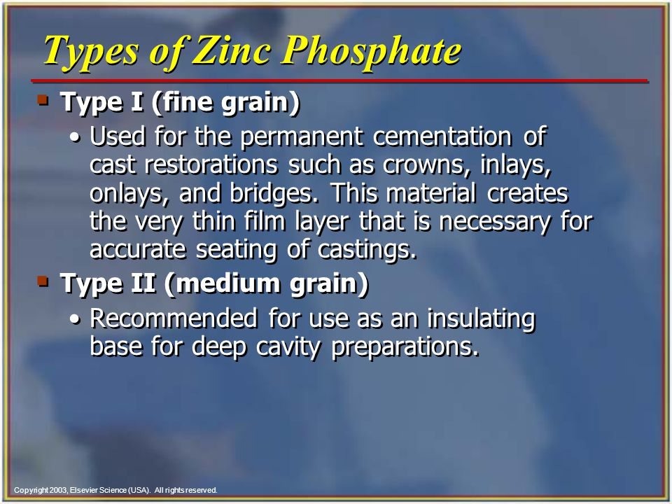Types of Zinc Phosphate