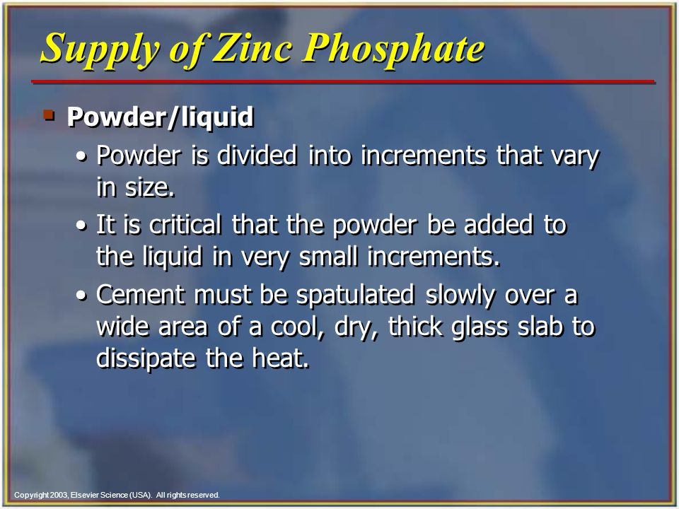 Supply of Zinc Phosphate