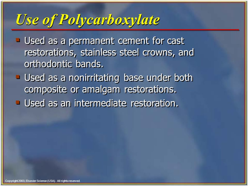 Use of Polycarboxylate