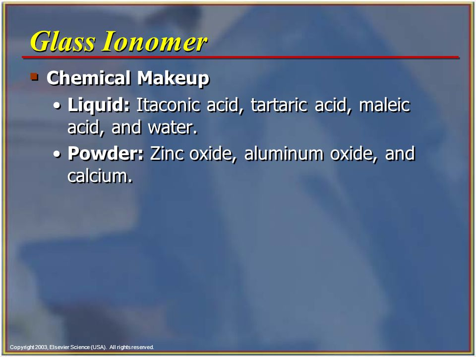 Glass Ionomer Chemical Makeup