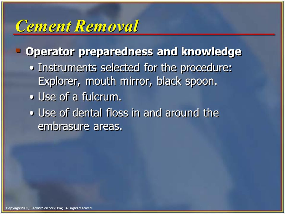 Cement Removal Operator preparedness and knowledge