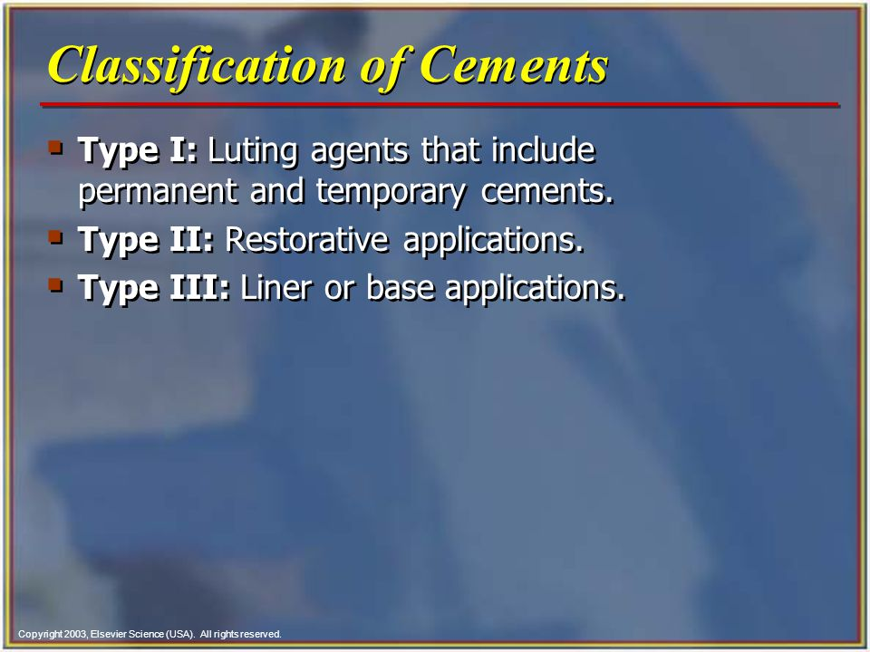 Classification of Cements