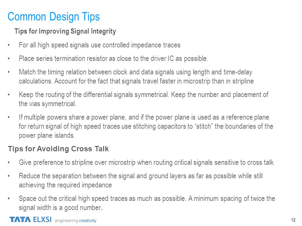 Common Design Tips Tips for Improving Signal Integrity