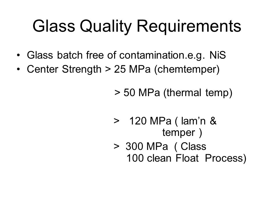 Glass Quality Requirements