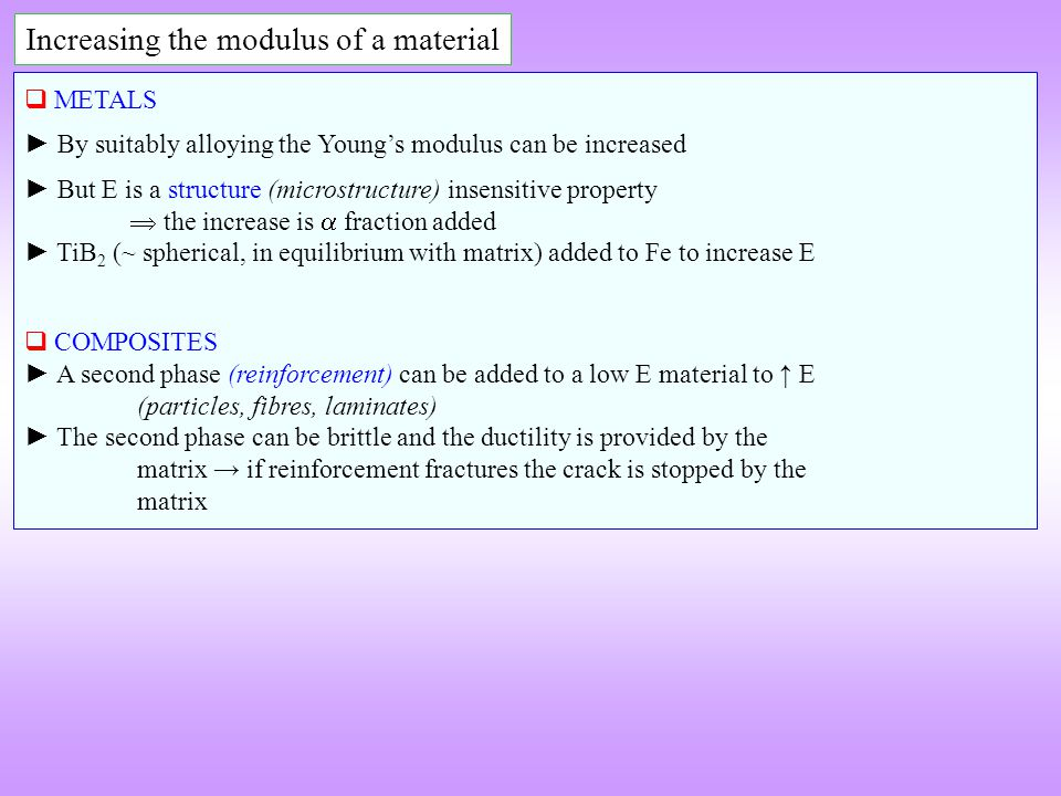Increasing the modulus of a material