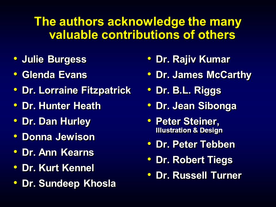 The authors acknowledge the many valuable contributions of others