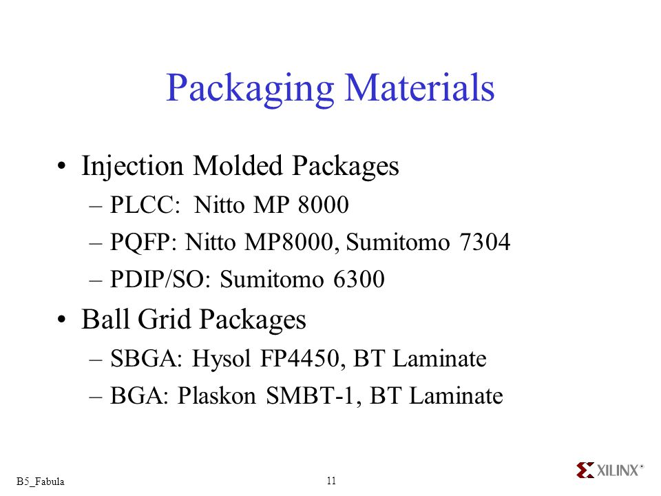 Packaging Materials Injection Molded Packages Ball Grid Packages