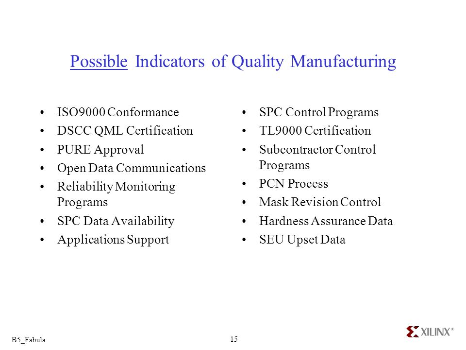 Possible Indicators of Quality Manufacturing