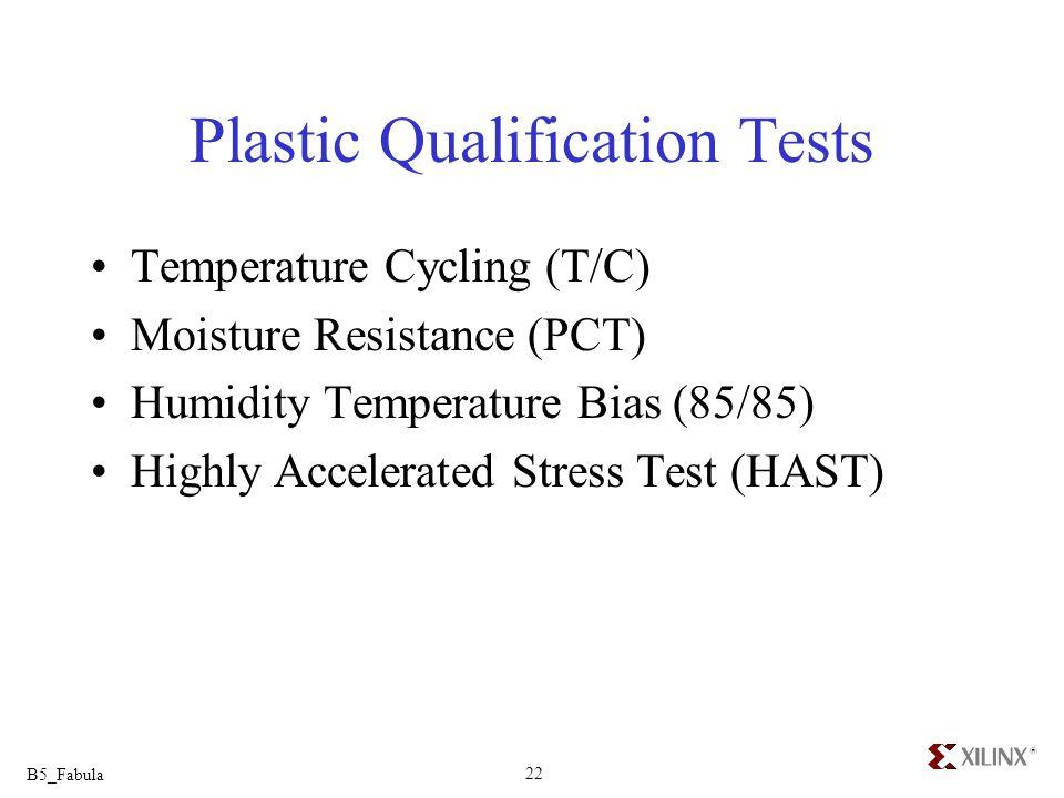 Plastic Qualification Tests