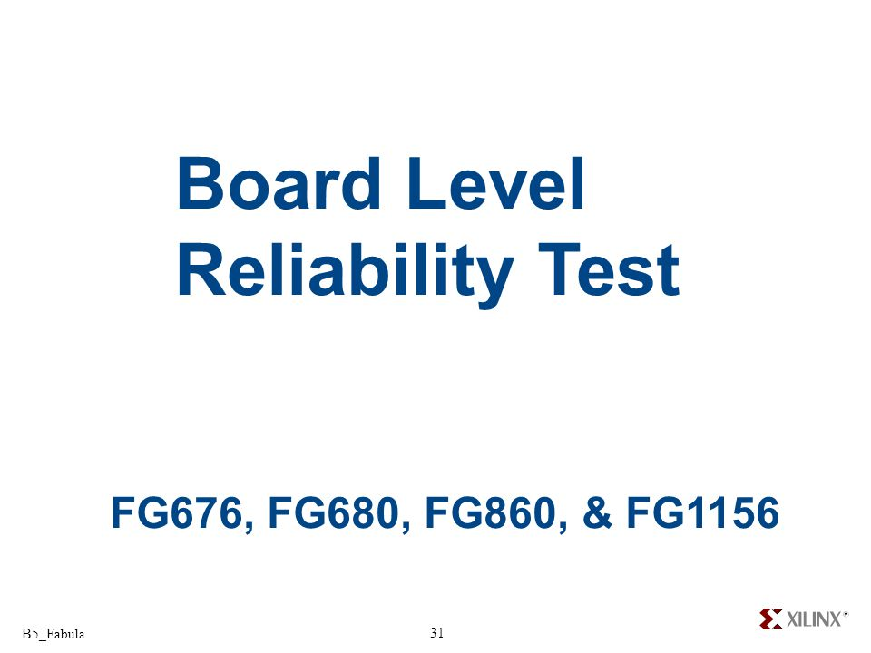 Board Level Reliability Test FG676, FG680, FG860, & FG1156