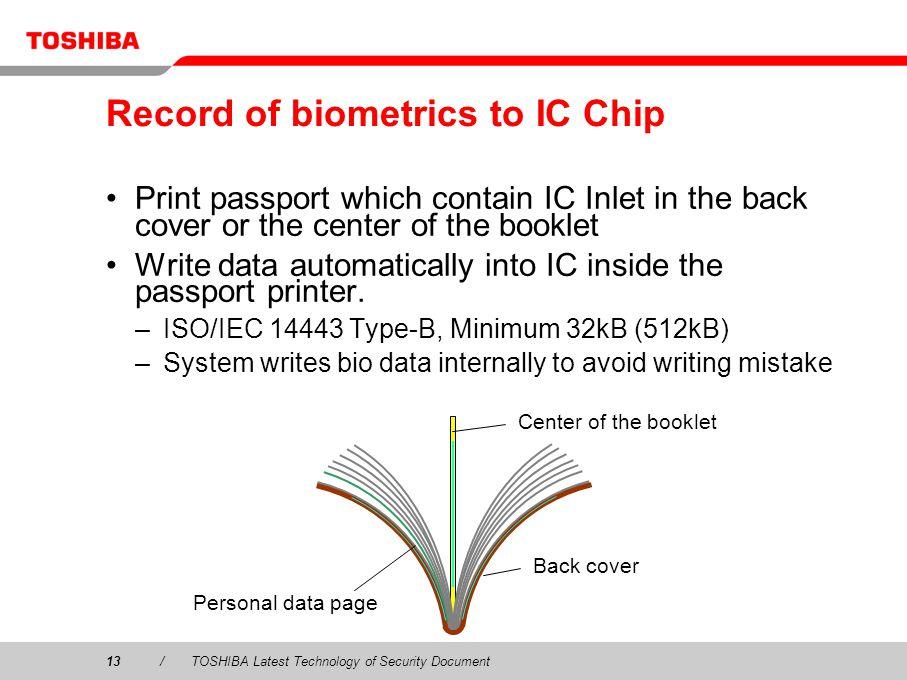 Record of biometrics to IC Chip