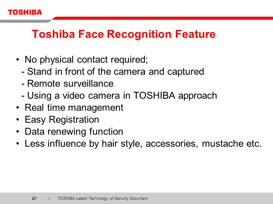 Toshiba Face Recognition Feature