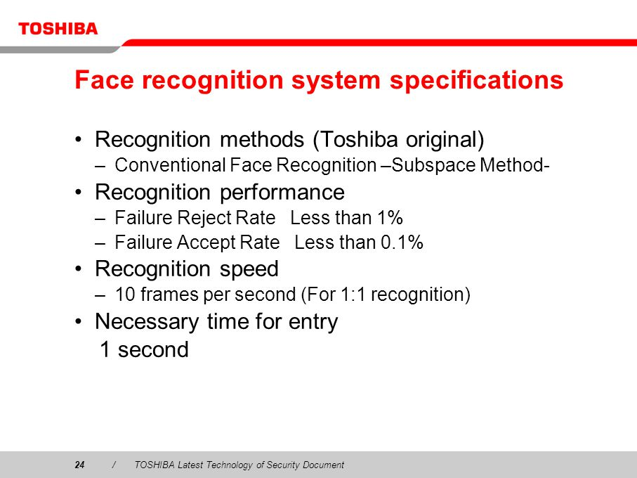 Face recognition system specifications