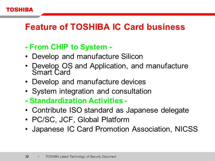 Feature of TOSHIBA IC Card business