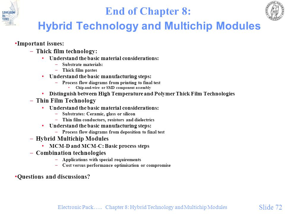 End of Chapter 8: Hybrid Technology and Multichip Modules