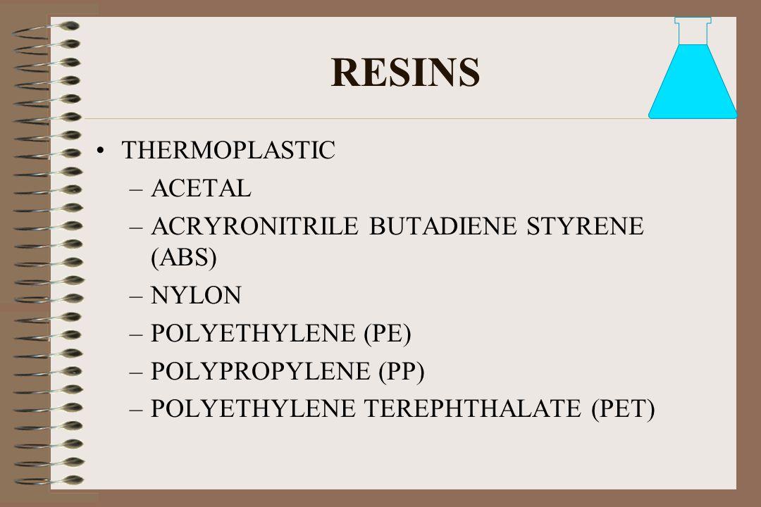 RESINS THERMOPLASTIC ACETAL ACRYRONITRILE BUTADIENE STYRENE (ABS)