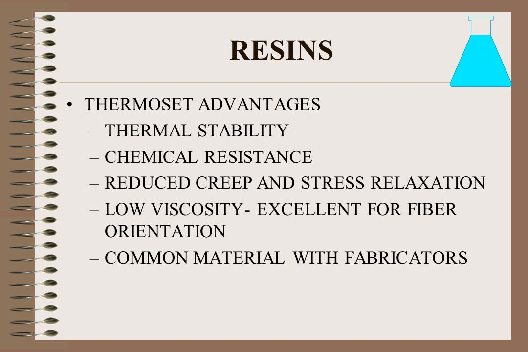 RESINS THERMOSET ADVANTAGES THERMAL STABILITY CHEMICAL RESISTANCE