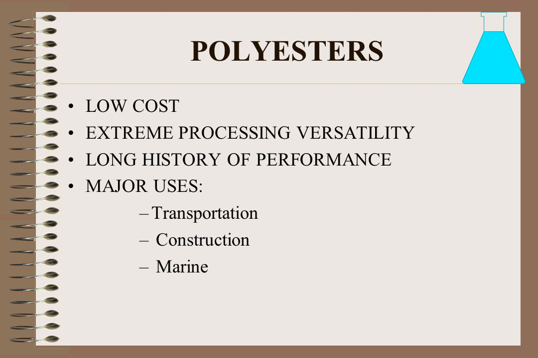POLYESTERS LOW COST EXTREME PROCESSING VERSATILITY
