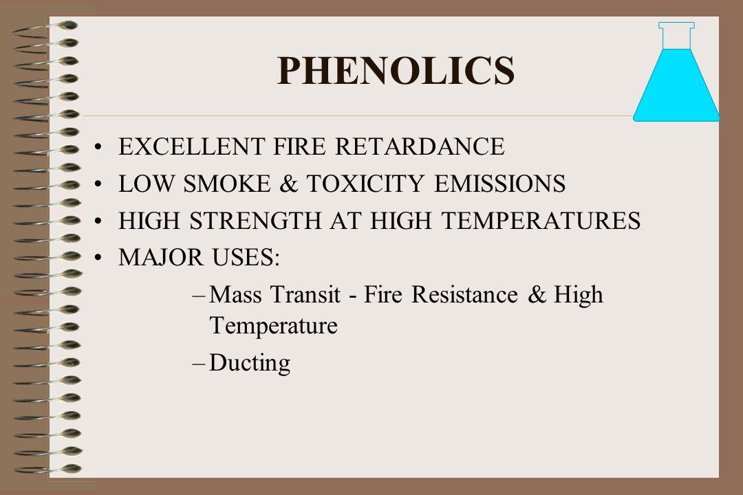 PHENOLICS EXCELLENT FIRE RETARDANCE LOW SMOKE & TOXICITY EMISSIONS