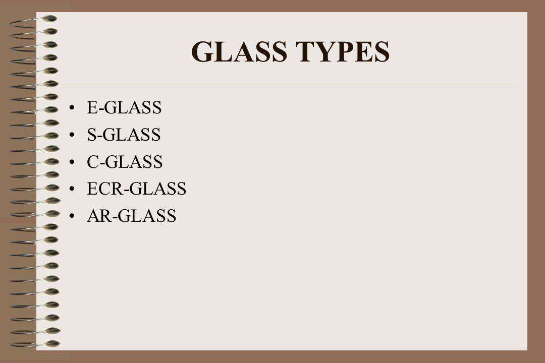 GLASS TYPES E-GLASS S-GLASS C-GLASS ECR-GLASS AR-GLASS