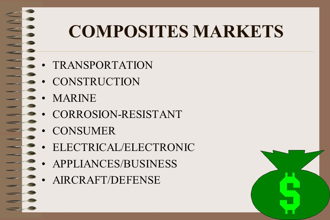 COMPOSITES MARKETS TRANSPORTATION CONSTRUCTION MARINE