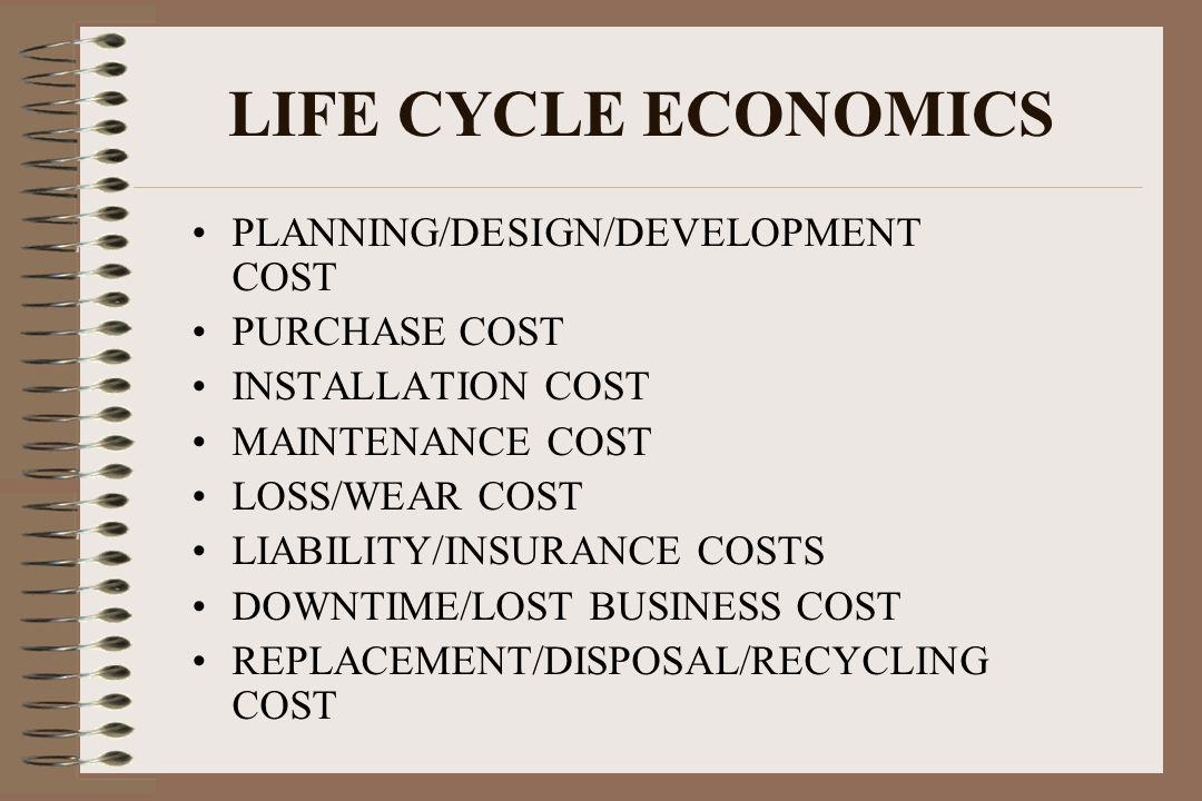 LIFE CYCLE ECONOMICS PLANNING/DESIGN/DEVELOPMENT COST PURCHASE COST