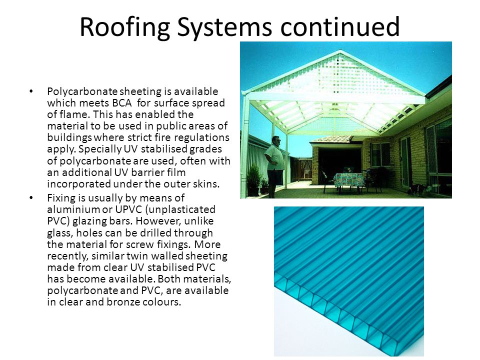 Roofing Systems continued