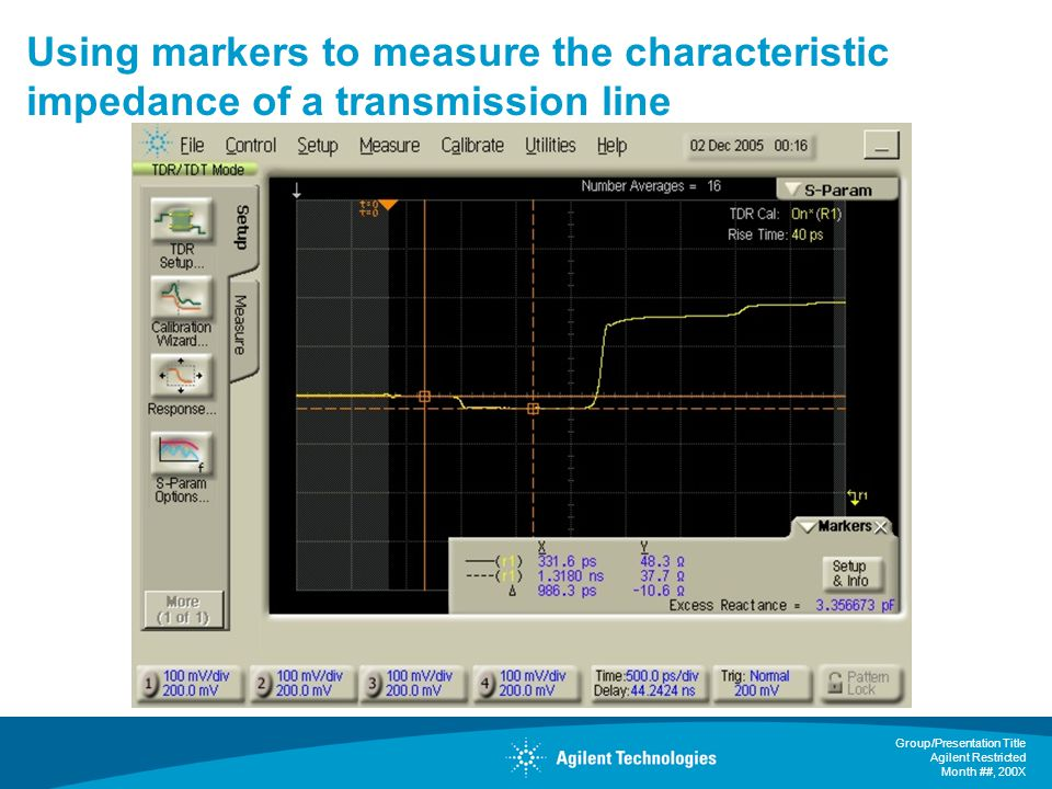 Using markers to measure the characteristic impedance of a transmission line