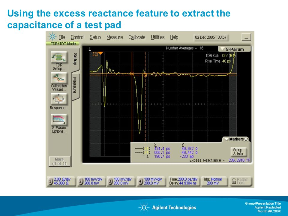Using the excess reactance feature to extract the capacitance of a test pad