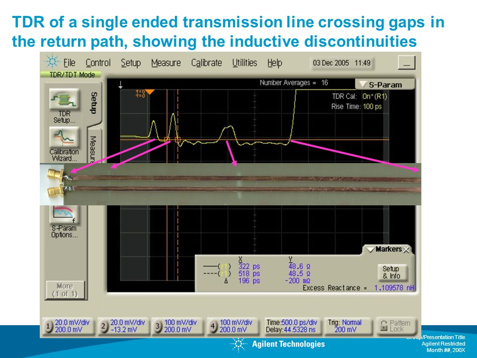 TDR of a single ended transmission line crossing gaps in the return path, showing the inductive discontinuities