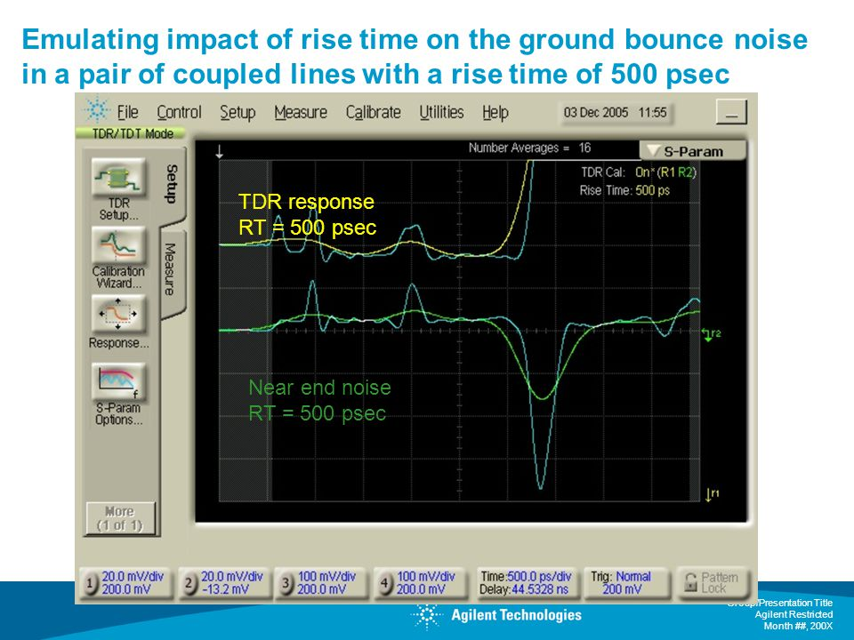 Emulating impact of rise time on the ground bounce noise in a pair of coupled lines with a rise time of 500 psec