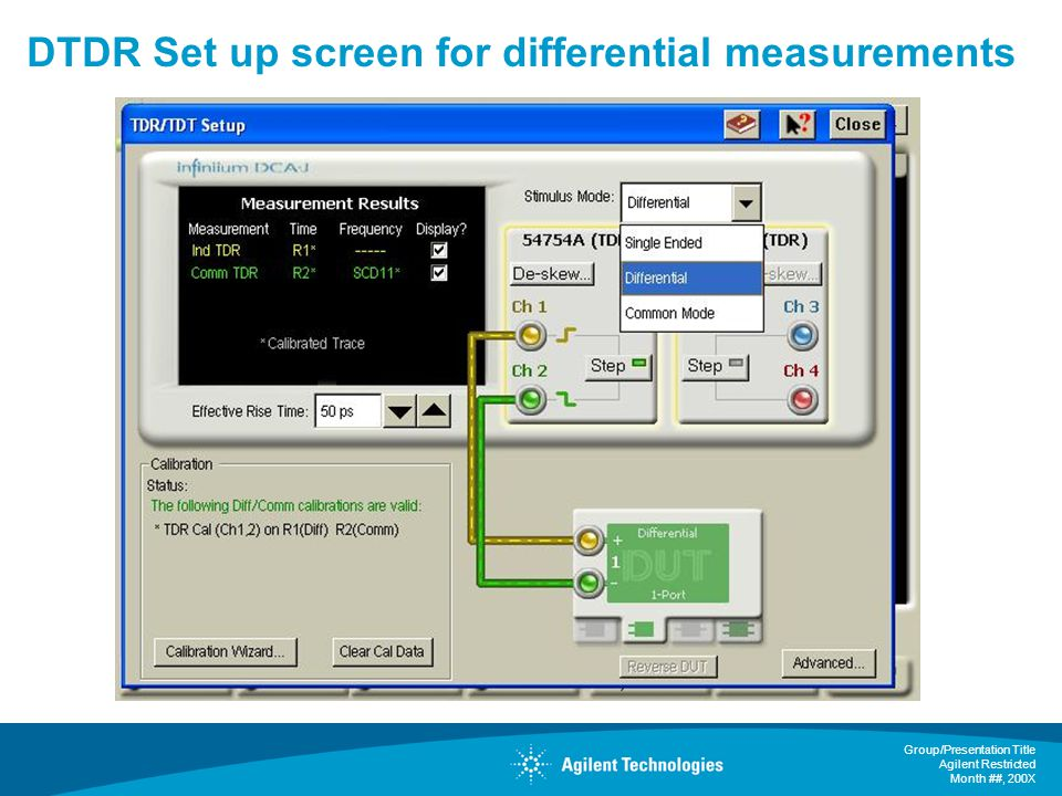 DTDR Set up screen for differential measurements