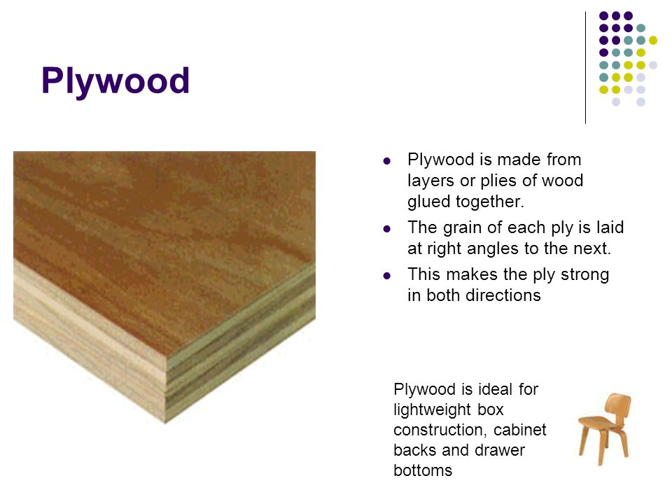 Plywood Plywood is made from layers or plies of wood glued together.