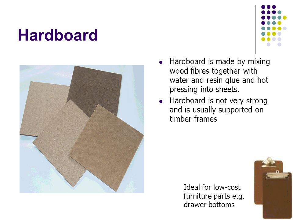 Hardboard Hardboard is made by mixing wood fibres together with water and resin glue and hot pressing into sheets.