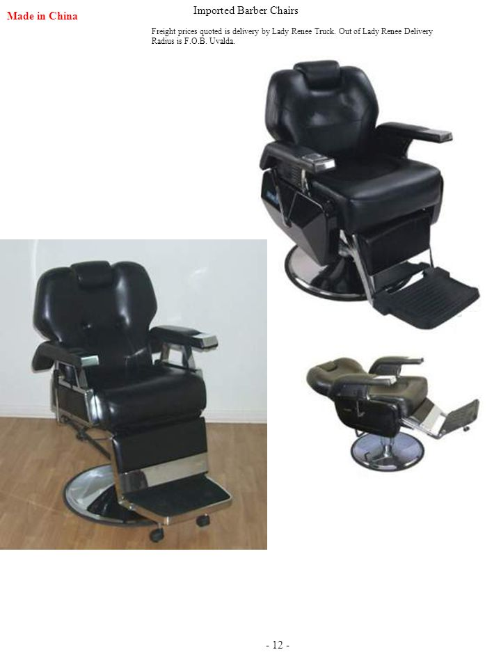Imported Barber Chairs Made in China