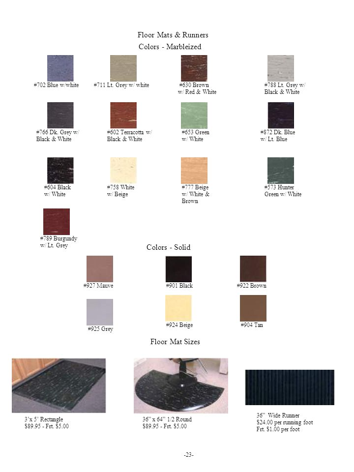 Floor Mats & Runners Colors - Marbleized Colors - Solid