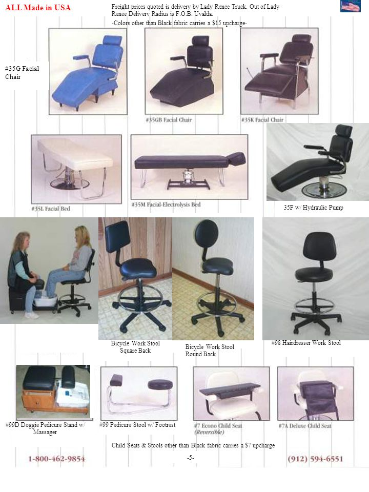 ALL Made in USA - #35G Facial Chair